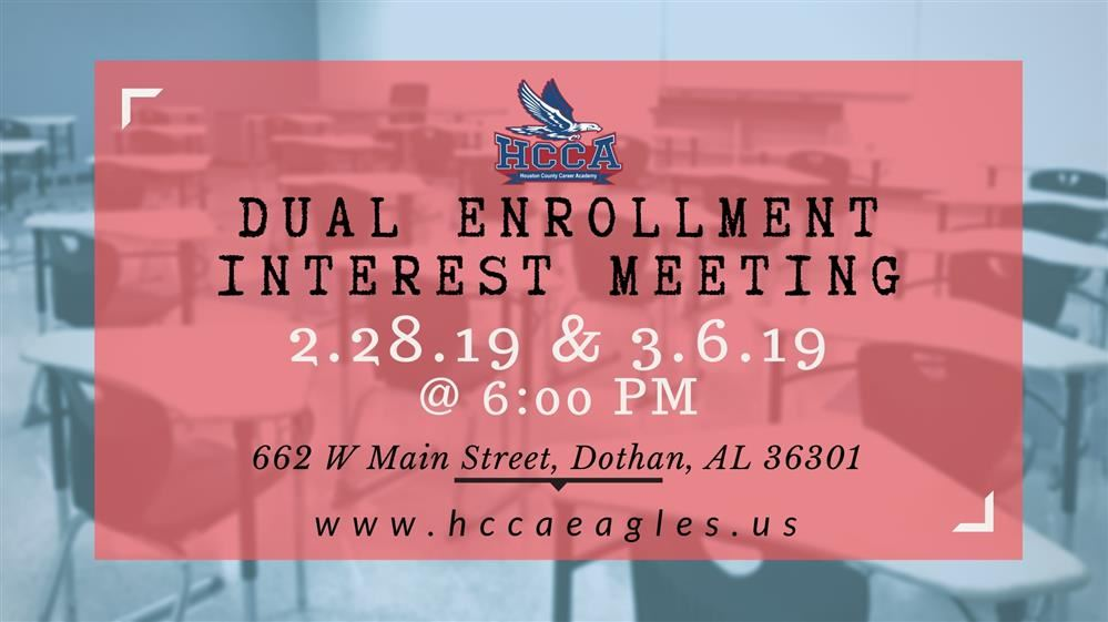 Dual Enrollment Meeting at HCCA Campus 2/28 and 3/6 - 6pm