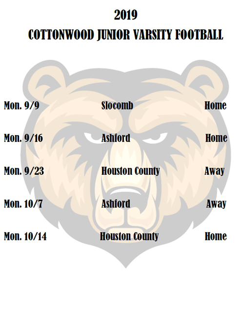 2019 JR Varsity Football Schedule
